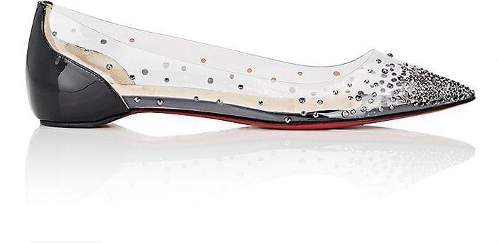 f4a3ec596b6 Christian Louboutin Degrastrass Pvc   Patent Leather Flats - 10.5 ...