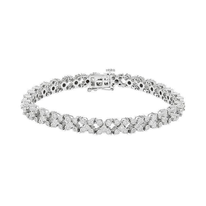 10k White Gold 1 3 8 Carat T W Diamond Tennis Bracelet