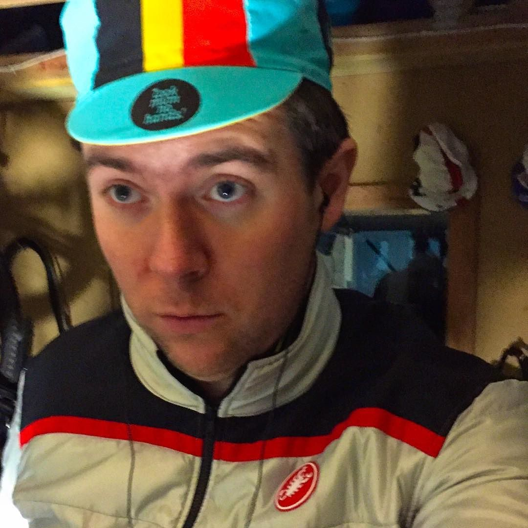 """Monday night's """"wear a Belgian hat in a silly way night"""" down in our pain cave obvs... #paincave #PGtrips #btfu #cafelove #cycling"""