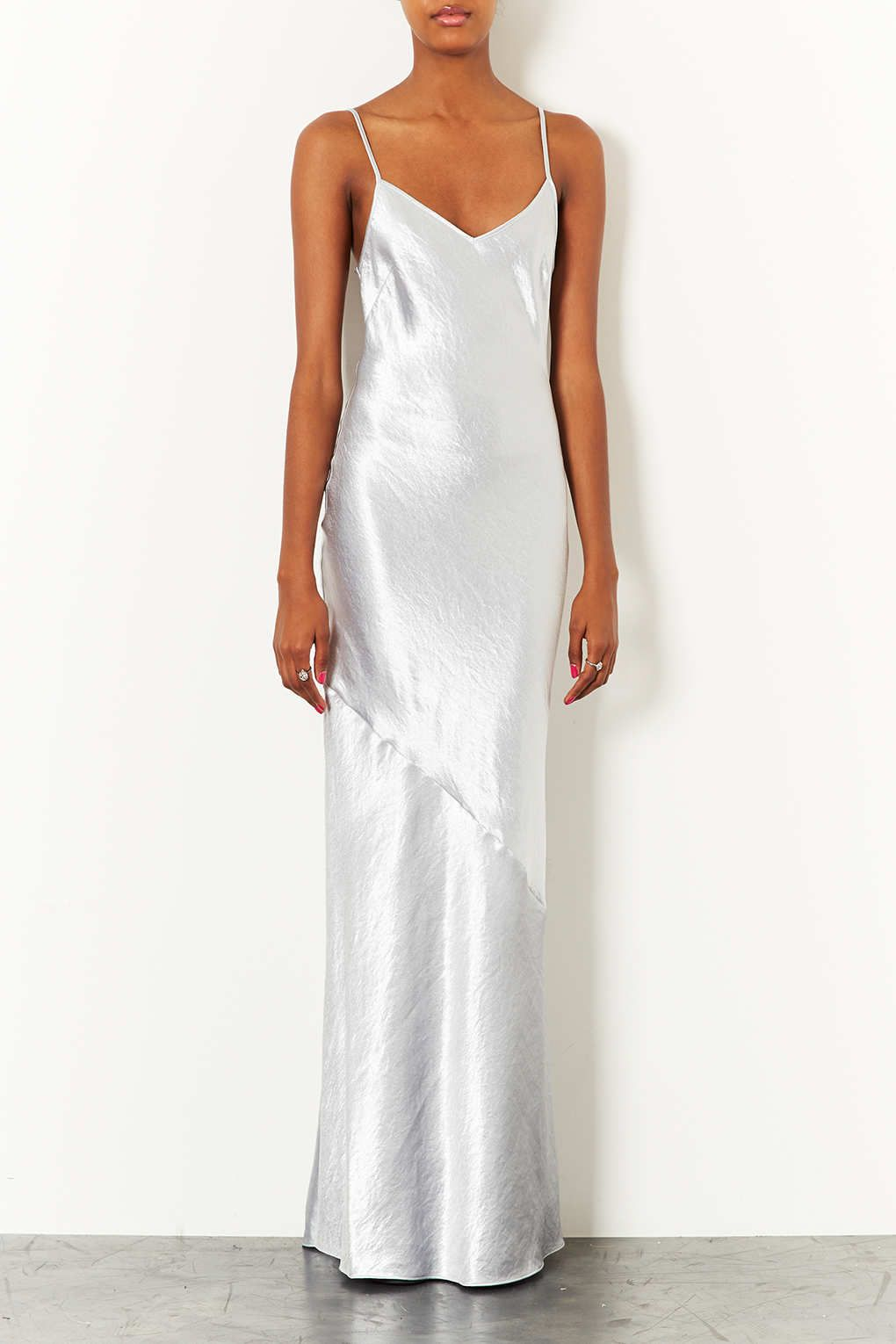 Topshop Strappy Satin Maxi Dress in White (SILVER)  0e1c1c66f