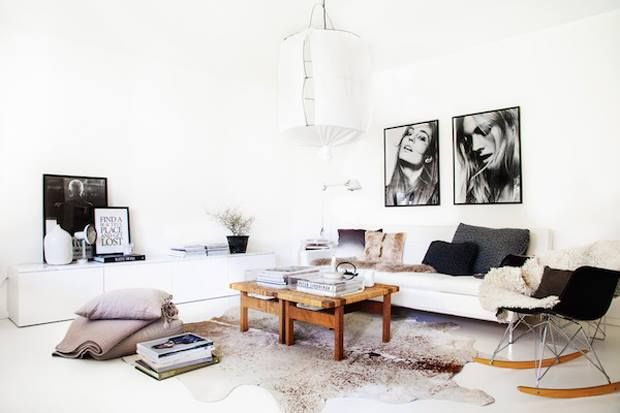 Wohnzimmer   Schwarz Weiß Bohemian