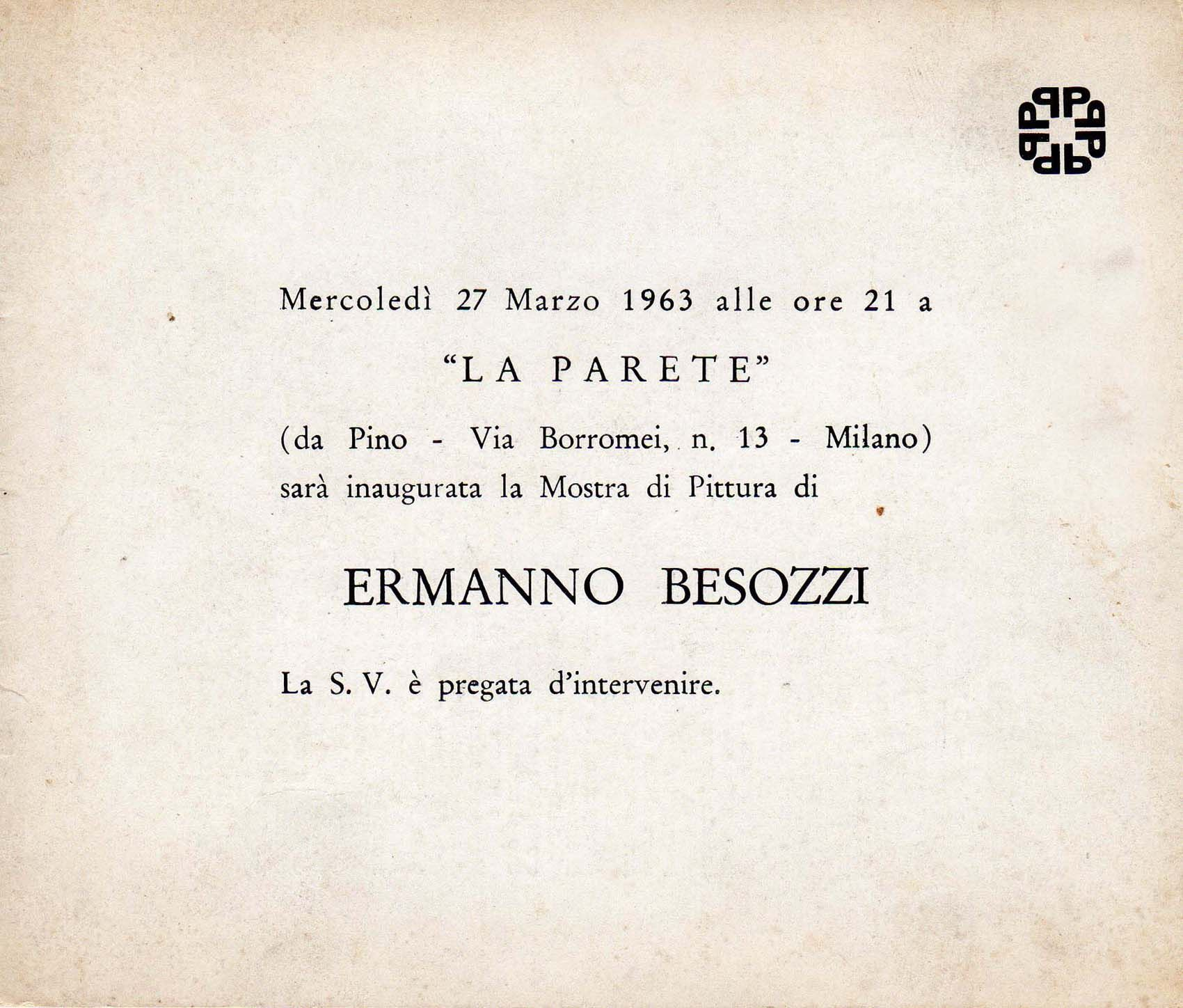 1963 Mostra Besozzi La Parete, Milano