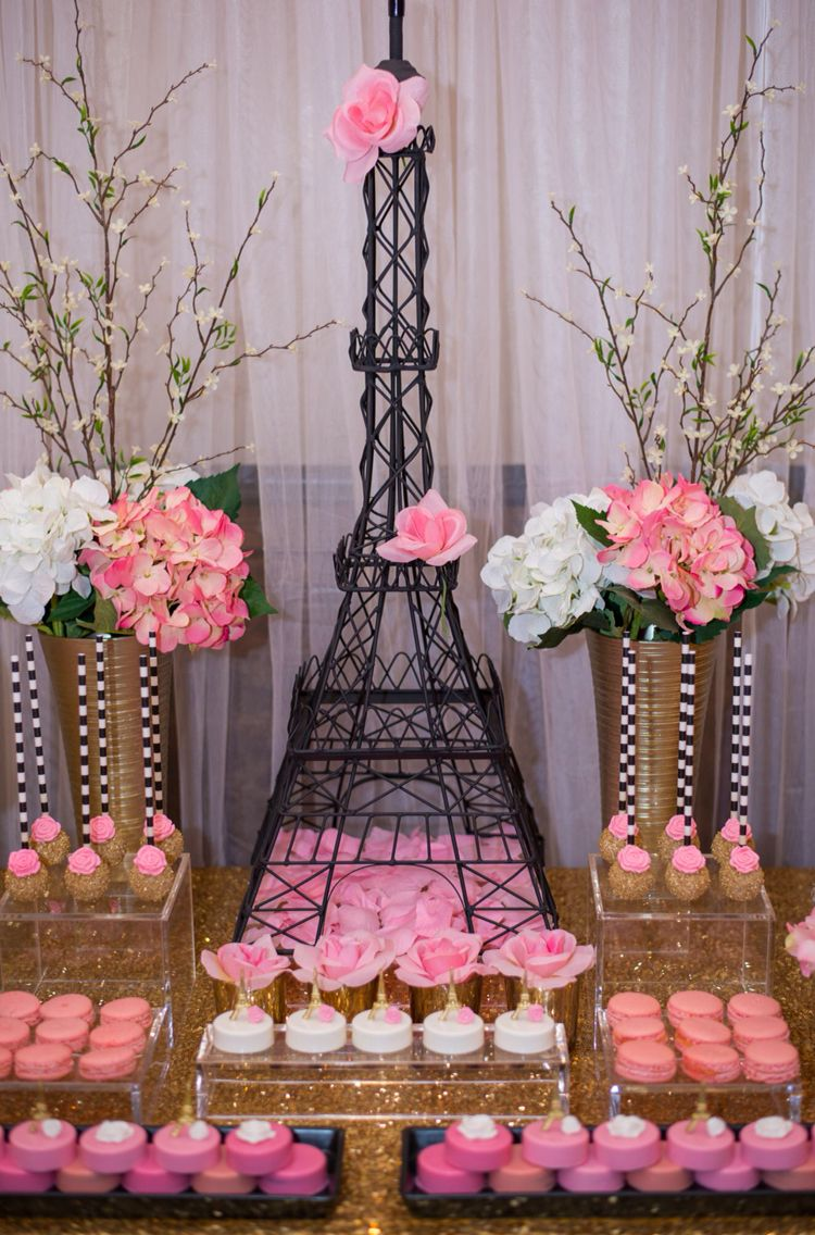 paris sweet table | paris bridal shower, paris themed