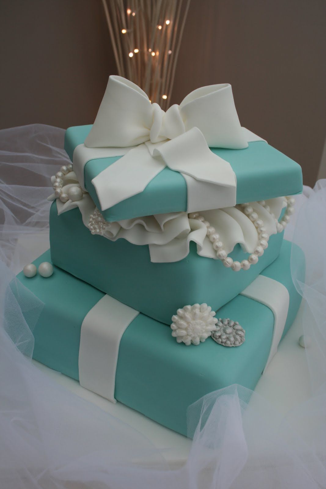 Tiffany blue package bridal shower cake   Flickr - Photo ...  Tiffany Bridal Shower Cakes