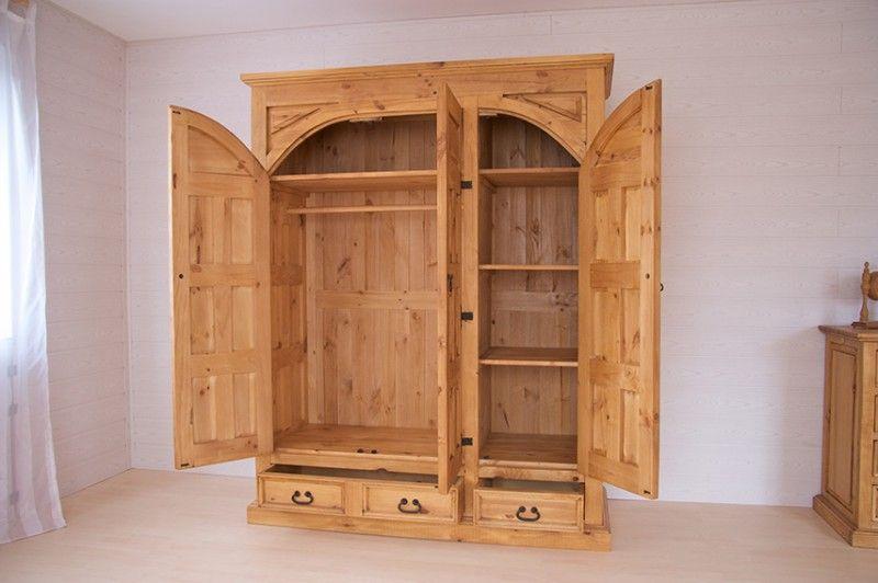 Kleiderschrank El Paso Holzmöbel massiv Pinie Schrank Schlafzimmer ...