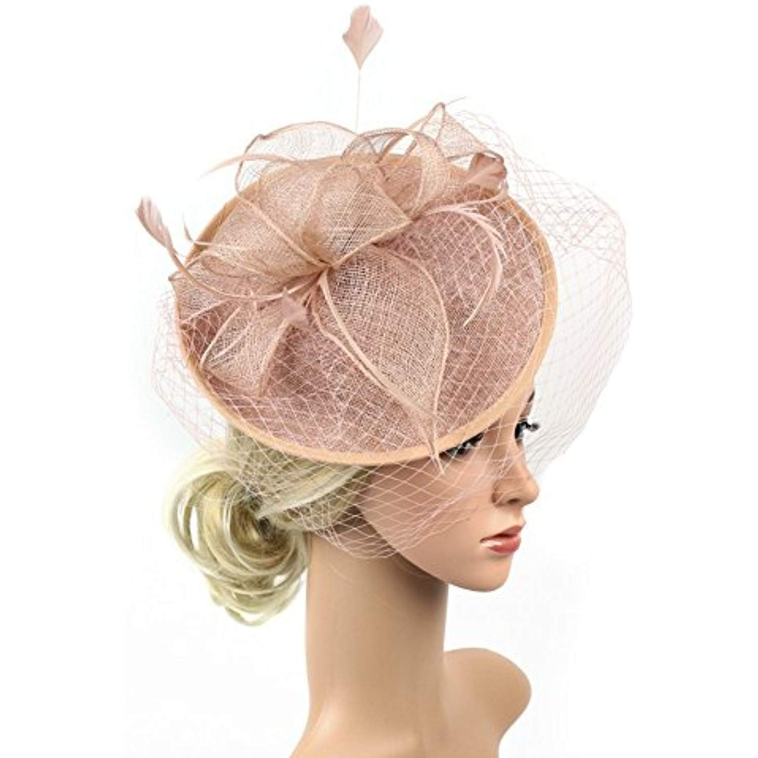 1920s Fascinator Net Face Veil Feather Headband Flax Tea Party Top Hat  Headwear Bridal Hairband     Read more reviews of the product by visiting  the link on ... 5038f73d13c