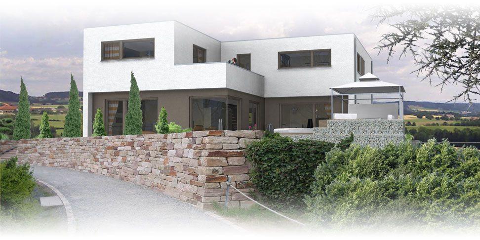 Flachdach architektenhaus ansicht 1 stadtvilla for Architektenhaus grundriss