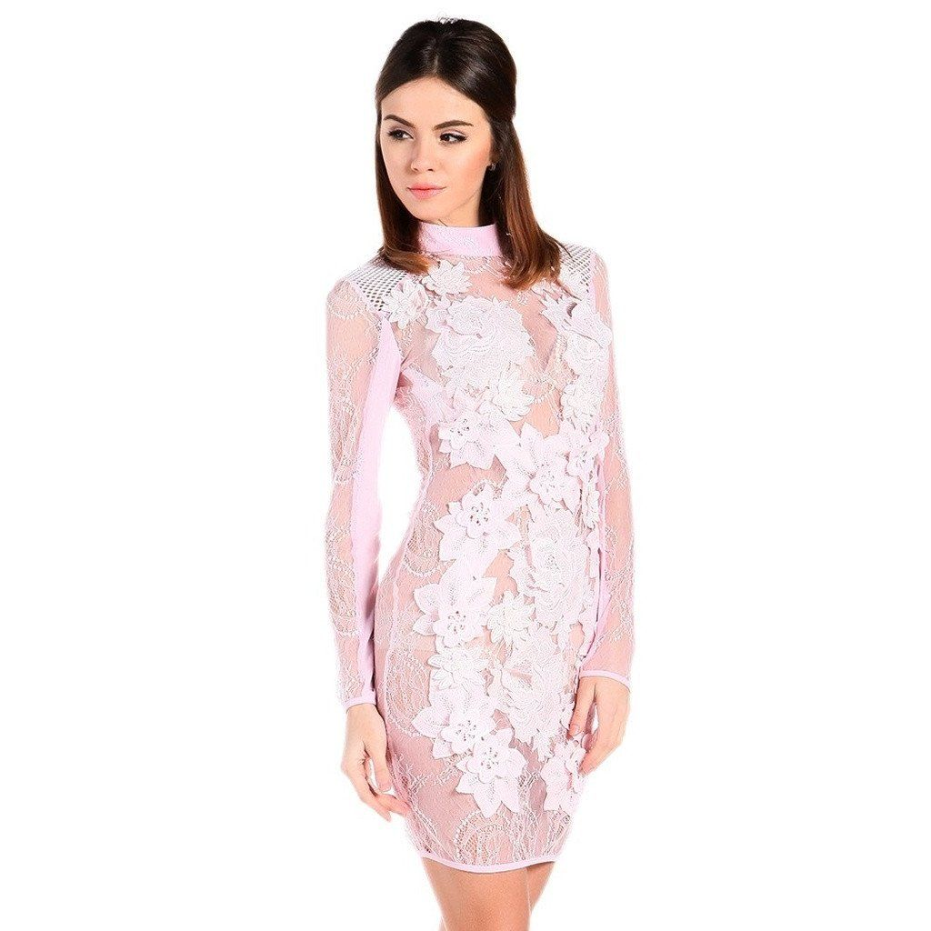Lace dress for big size  Pink Sheer Party Dress  Products  Pinterest  Products