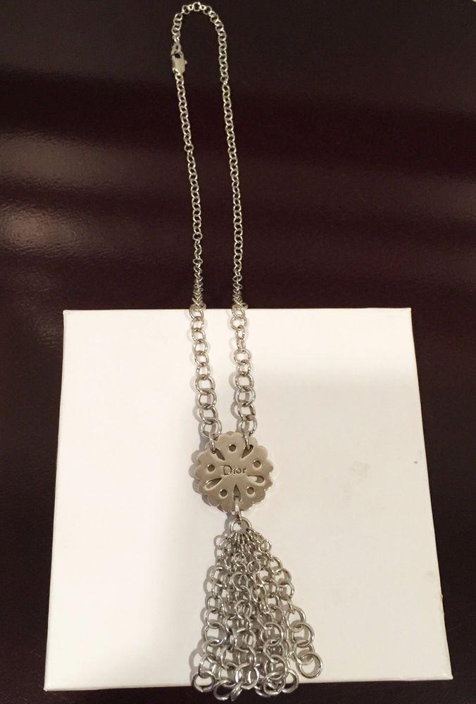 Authentic Christian Dior Silver Signature Logo Pendant Necklace Excellent Cond…