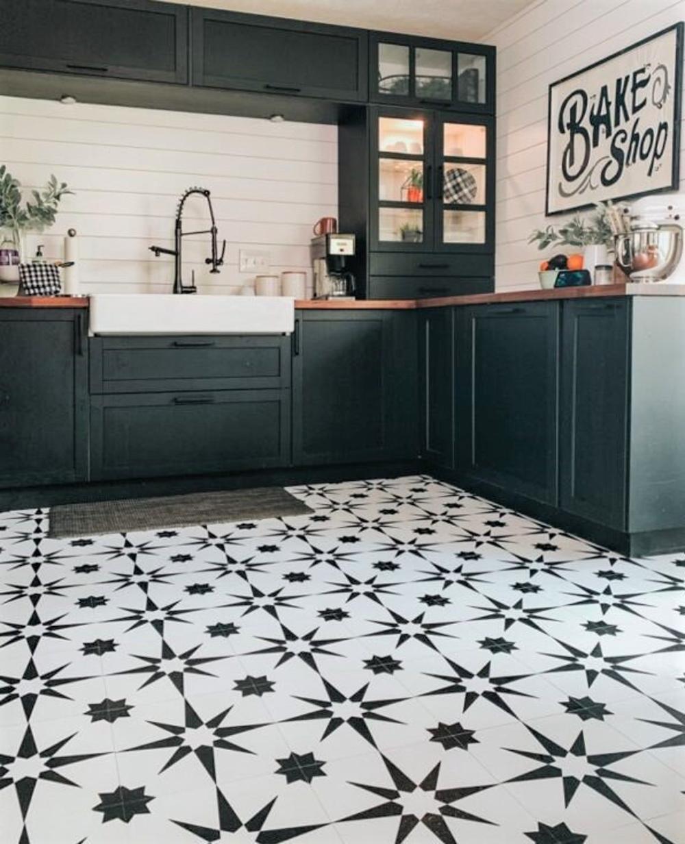 Altair Peel Stick Vinyl Floor Tiles Etsy In 2021 Patterned Kitchen Tiles Floor Makeover White Kitchen Floor