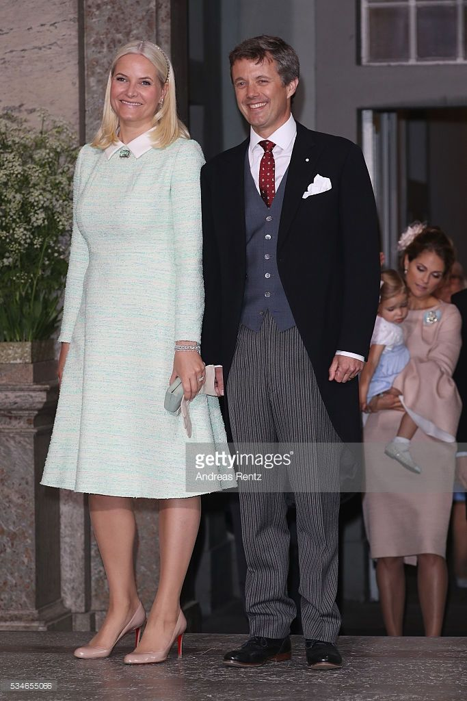 Crown Princess Mette-Marit of Norway and Crown Prince Frederik of Denmark are seen after the christening of Prince Oscar of Sweden at Royal Palace of Stockholm on May 27, 2016 in Stockholm, Sweden.  (Photo by Andreas Rentz/Getty Images)
