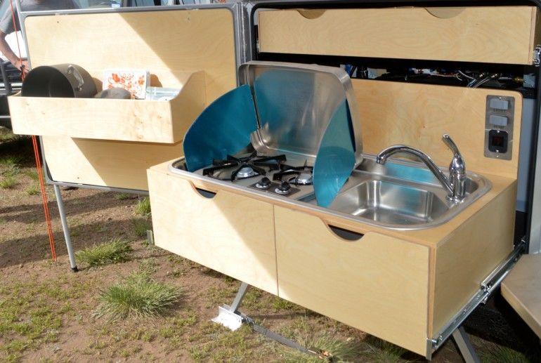 The baltic birch plywood slide out kitchen explorer box for Camper trailer kitchen designs