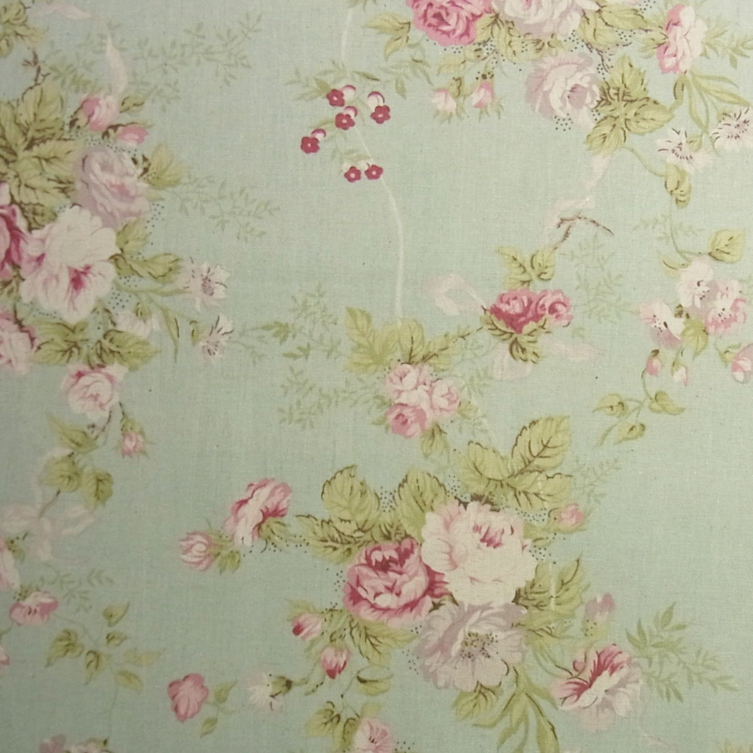 Vintage Style Linen Blend Fabric Rose Flowers Shabby Chic Mint Green
