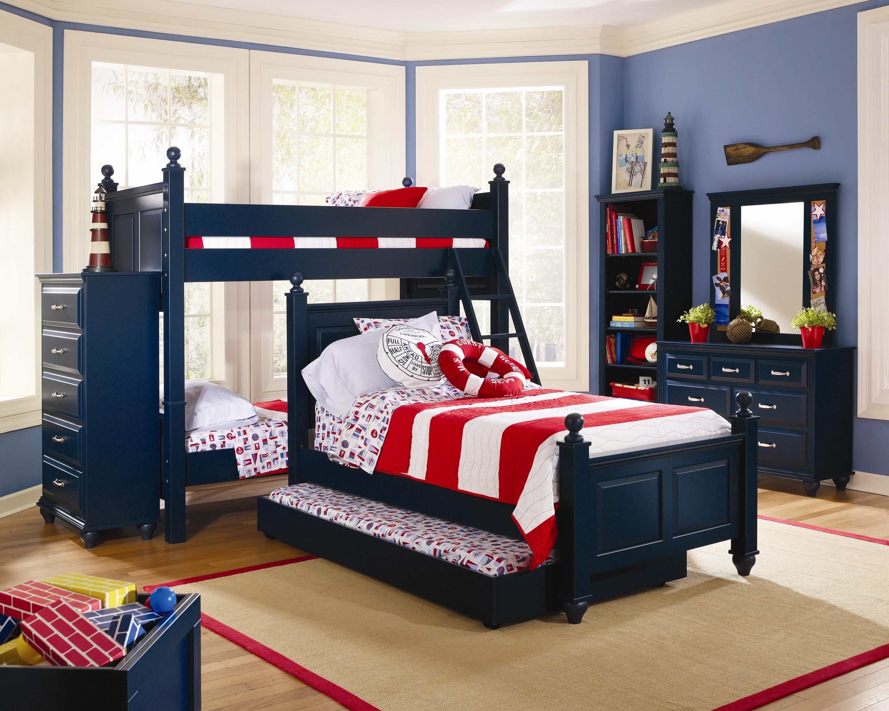 Madison Bunk Bed in Indigo Blue Bedroom Set by Lang