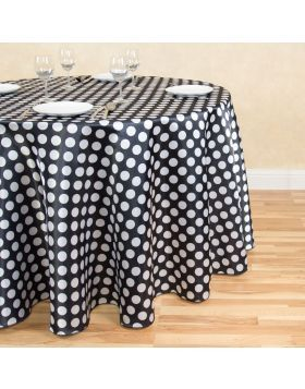 108 In Round Polka Dot Satin Tablecloth Black White Black Round Tablecloth Polka Dot Tablecloth Table Cloth