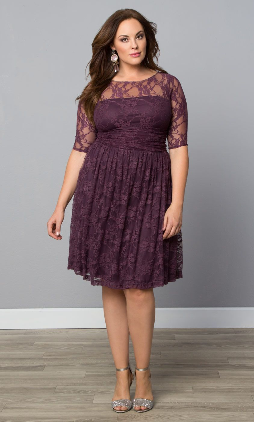 grab our customer favorite plus size luna lace dress in plum on