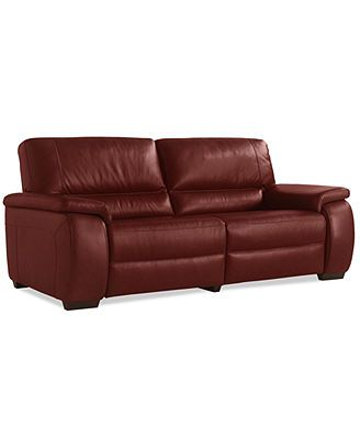 Marchella Leather Reclining Sofa Dual Power Recliner 82