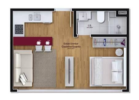 Resultado de imagem para projeto apartamento 50m2 Casa Pinterest