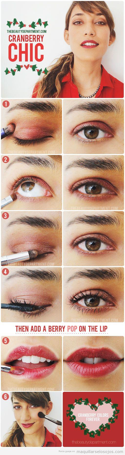 Tutorial maquillaje de ojos para Navidad en tono arándano rojo, paso a paso