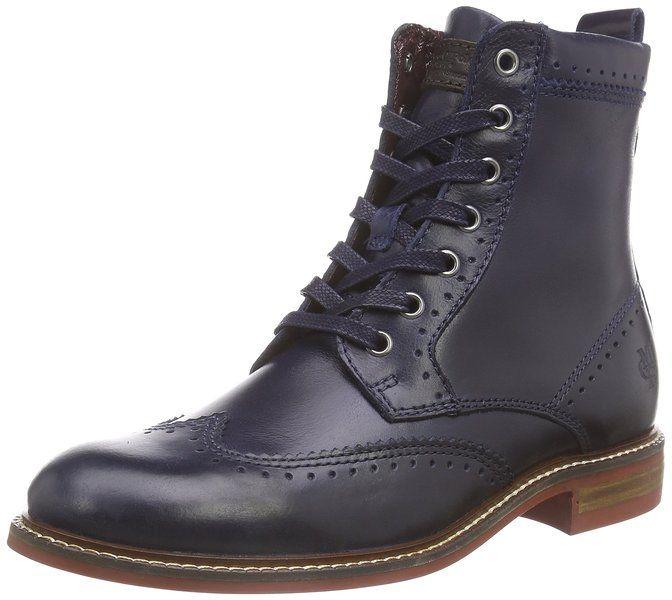 Marc O'Polo Schnürstiefelette, Damen Combat Boots, Blau (877