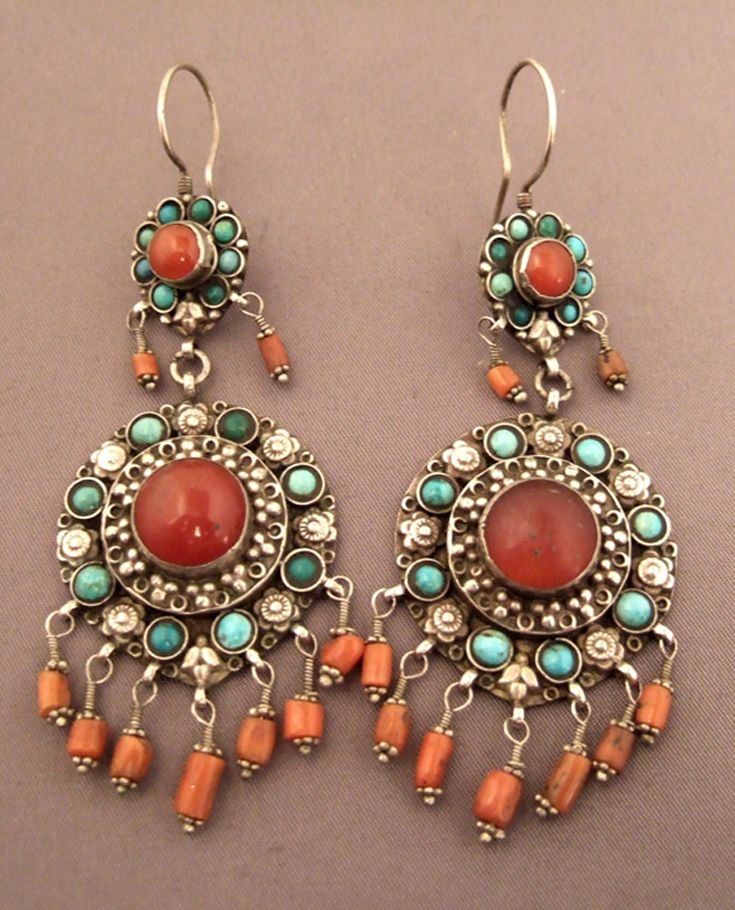 North India | Earrings; silver, coral, turquoise and carnelian | Sold