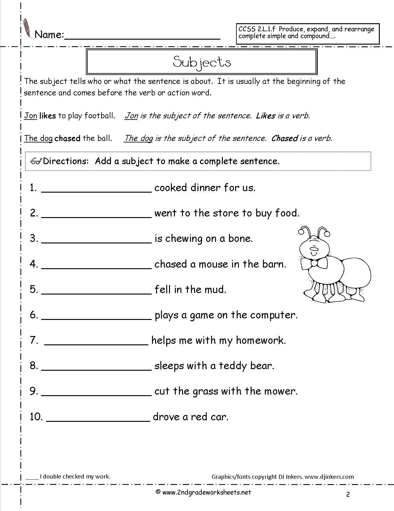 Free Printable Sentence Writing Worksheets Second Grade