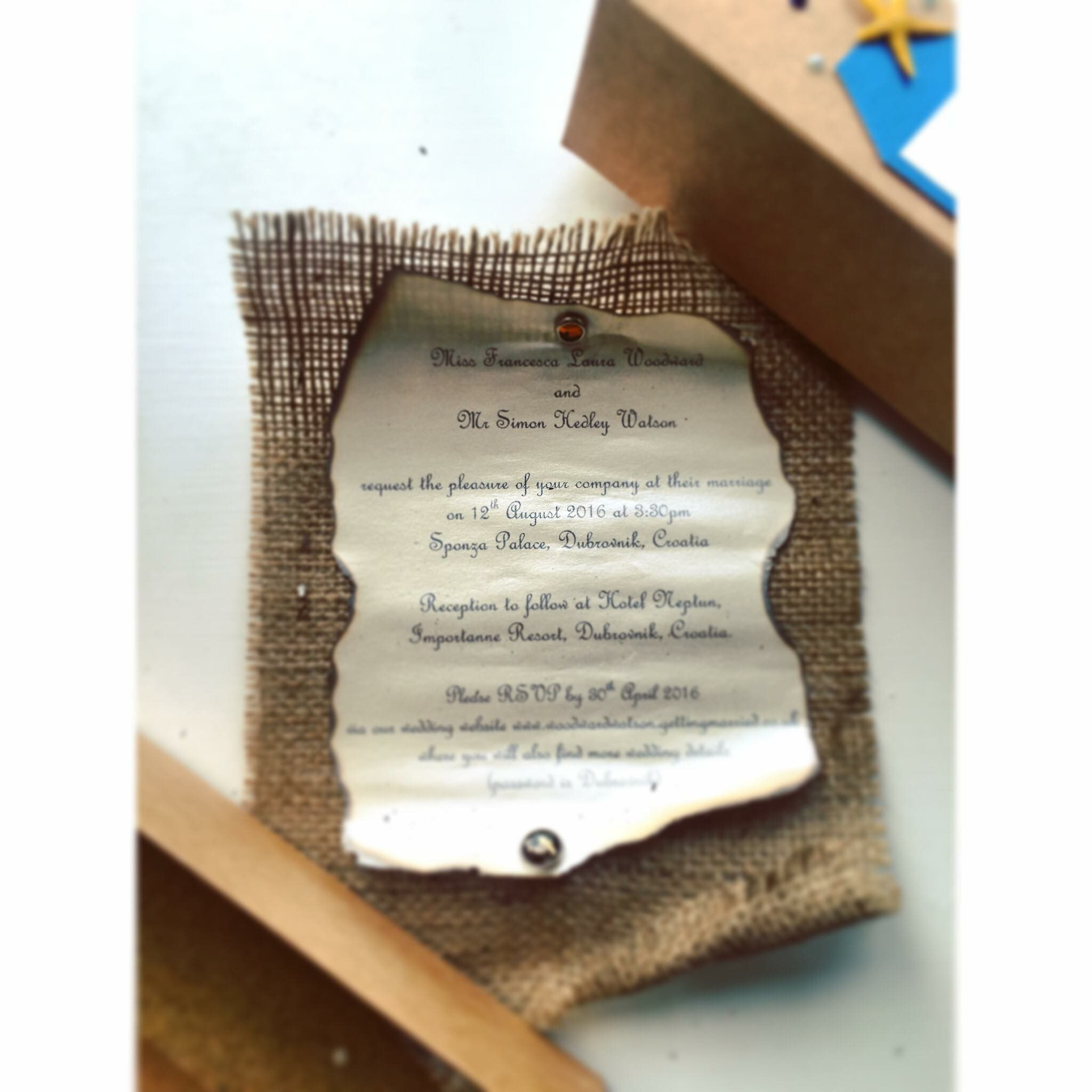 Wedding Invitation Scroll Beach theme Invitation in