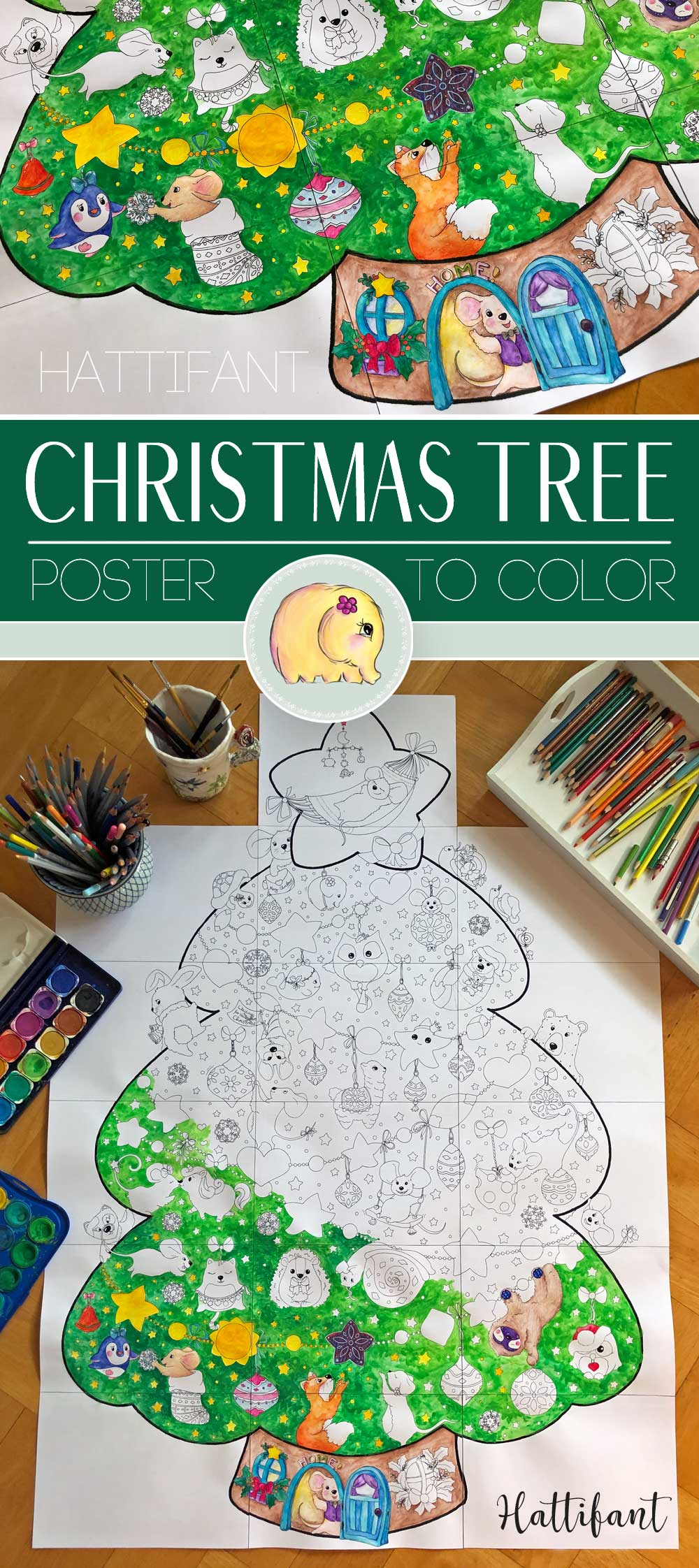 Giant Poster Christmas Tree Animal Cuties To Color Hattifant Christmas Tree Coloring Page Paper Christmas Tree Christmas Tree Poster