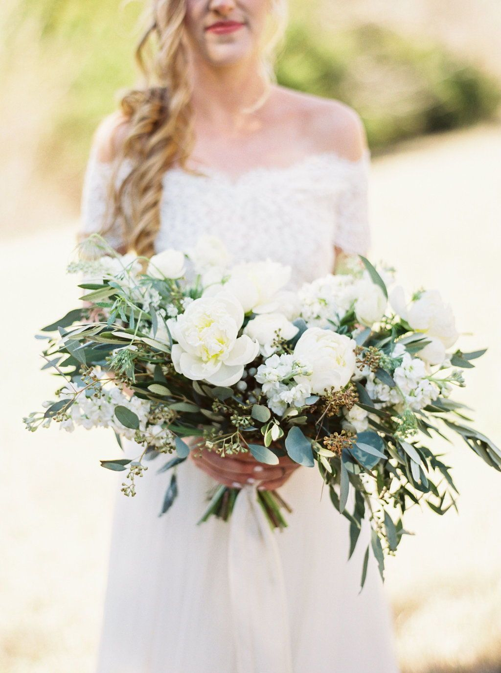 All White Summer Wedding Bouquet And Boho Two Piece Bridal