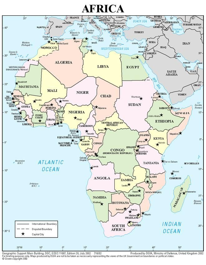 africa map and key