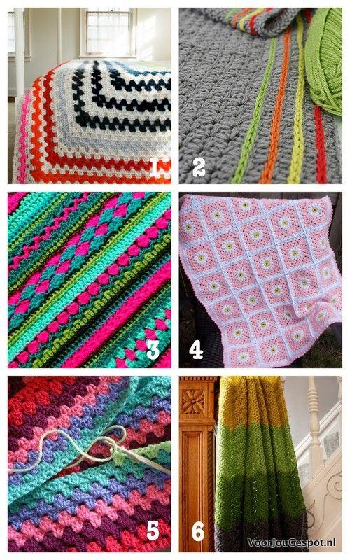 6 X Patronen Om Zelf Een Hippe Deken Te Haken Blankets Pinterest