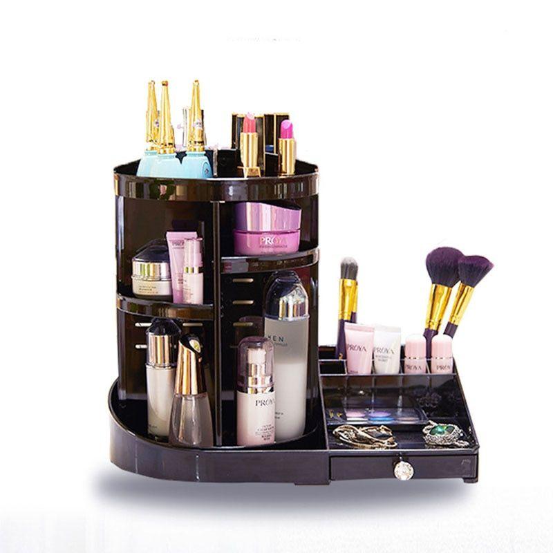 Desktop Makeup Organizer Creative Diy 360 Degree Rotation