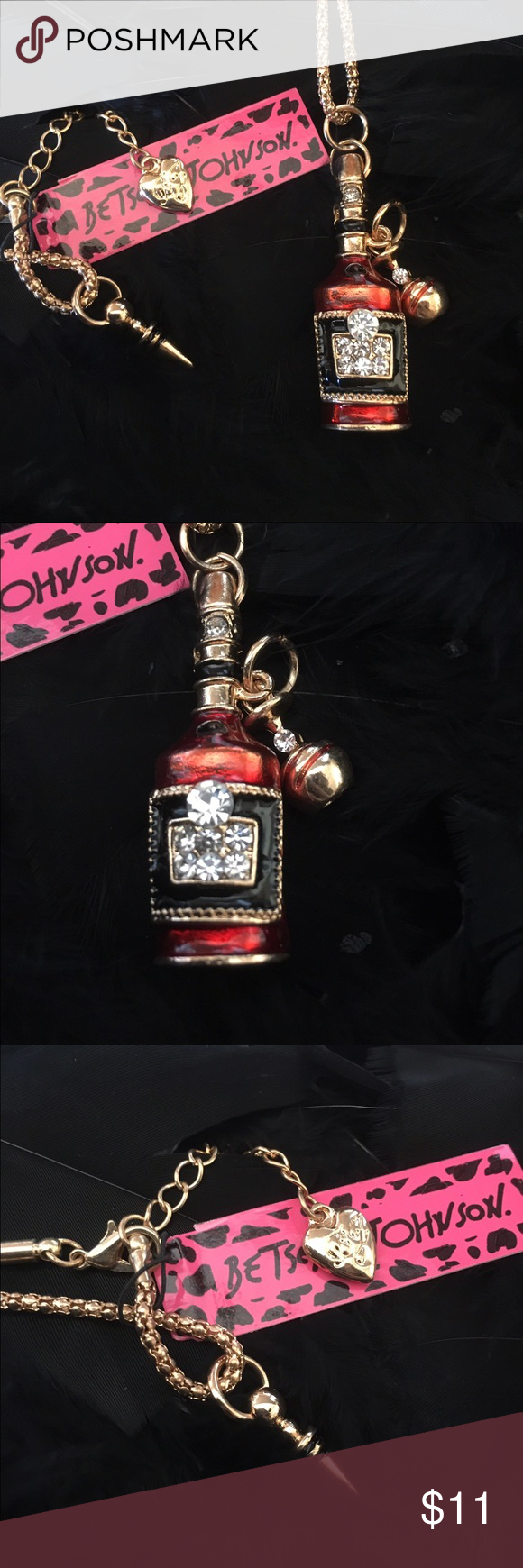 NWT Betsey Johnson Wine Bottle Necklace Brand new! Stunning gold tone necklace with vintage looking red tone wine bottle with wine glass accented with a cork stopper at end of chain ! Betsey Johnson Jewelry Necklaces