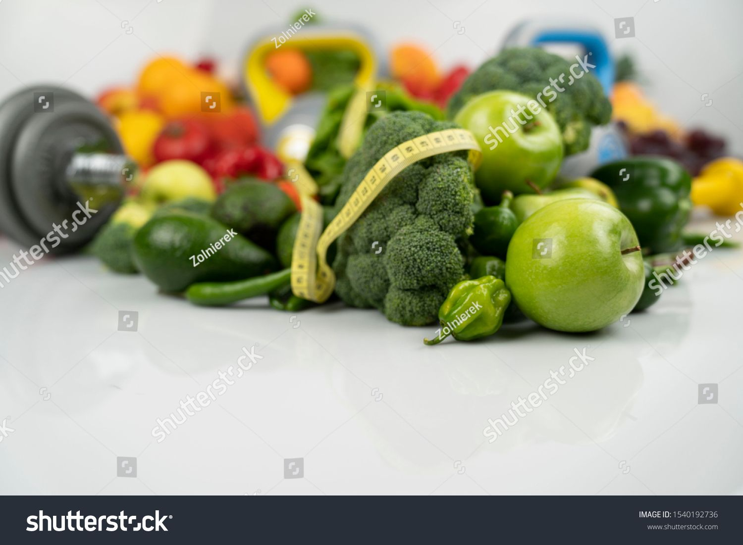 Vegetables, fruits and fitness equipment composition. Slimming concept. #Ad , #Aff, #fitness#fruits#...