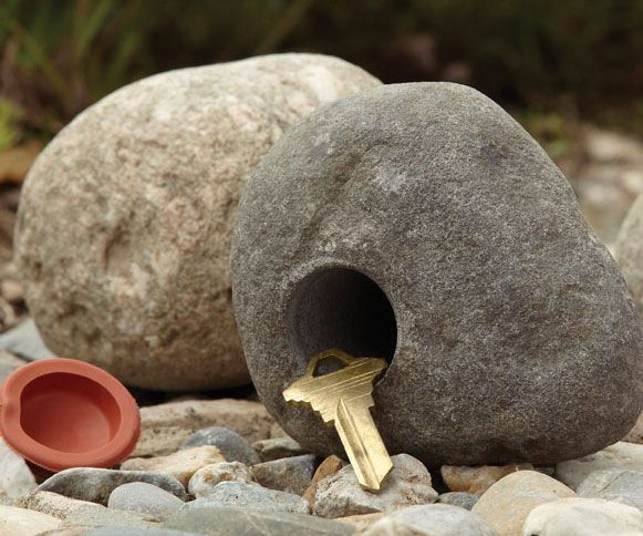 The real rock key proves that the best hiding places often lie in plain sight. Each rock is hand selected and then drilled on the inside to create a small hollow compartment that is big enough to house an emergency key and complimented with a rubber lid to keep it air tight.