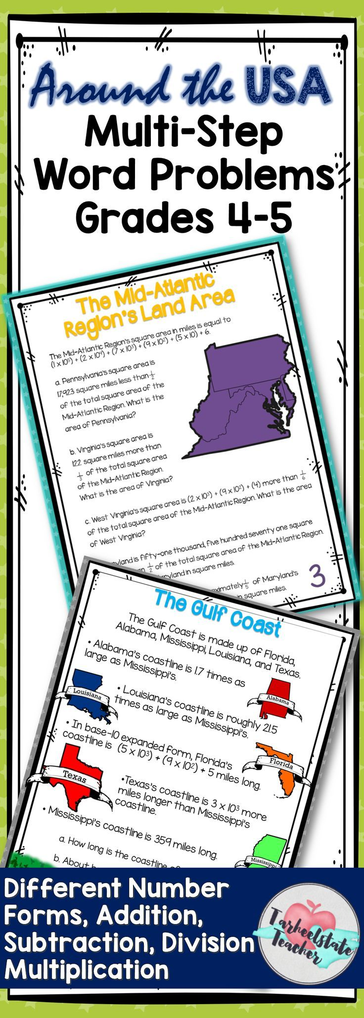 5th Grade Multistep Word Problems Task Cards Upper