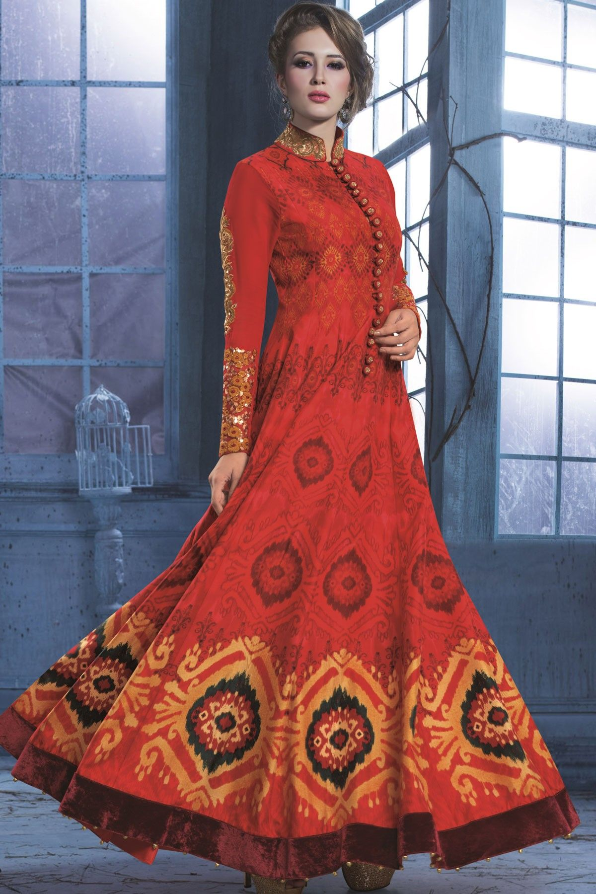Red colour soft Cotton Gown with high neck design -GW062 ...