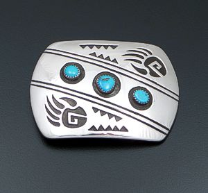Rosco Scott (Navajo) - Triple Turquoise & Sterling Silver Double Bear Track Belt Buckle #41456 $240.00
