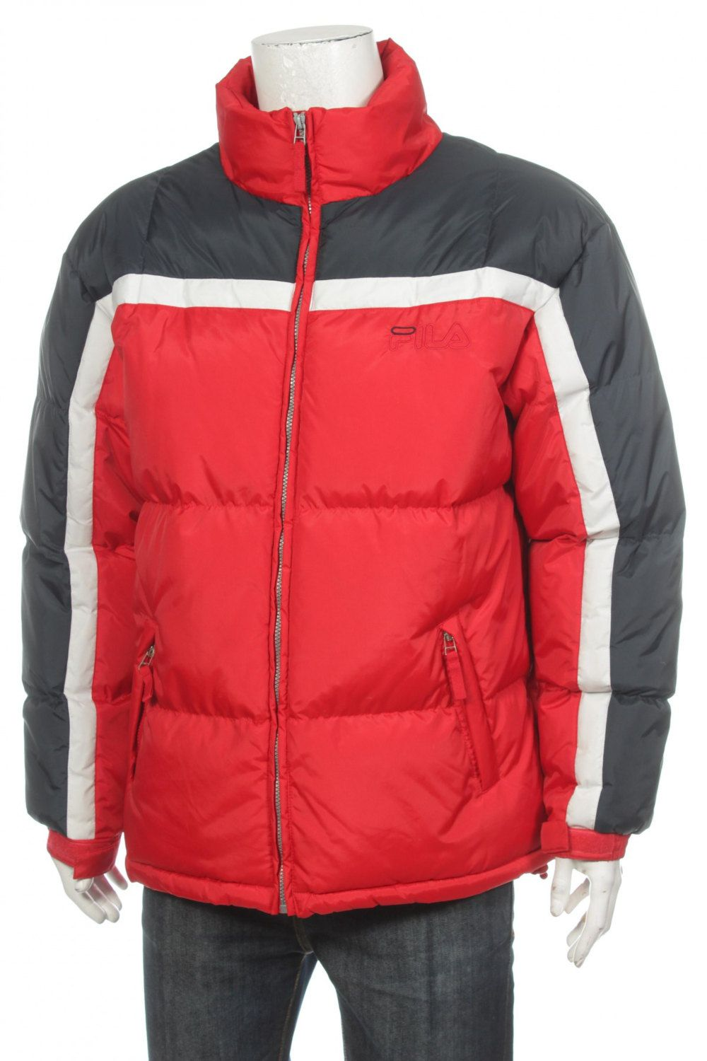 Vintage 90s Fila Polyamide Puffer jacket Big logo Spell Out Blue/Red Size M xc50xxbD5