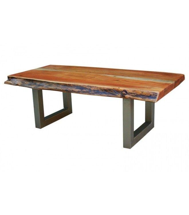 Natural Wood Metal Coffee Table Coffee Table Live Edge Coffee