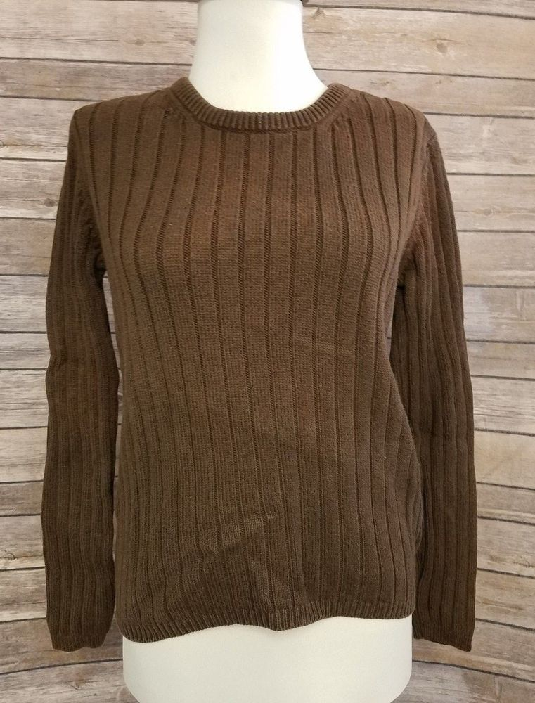 Eddie Bauer Ribbed Sweater Womens Size S Brown Small Pullover