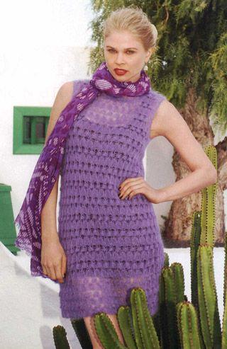 Вязание крючком горловины платья