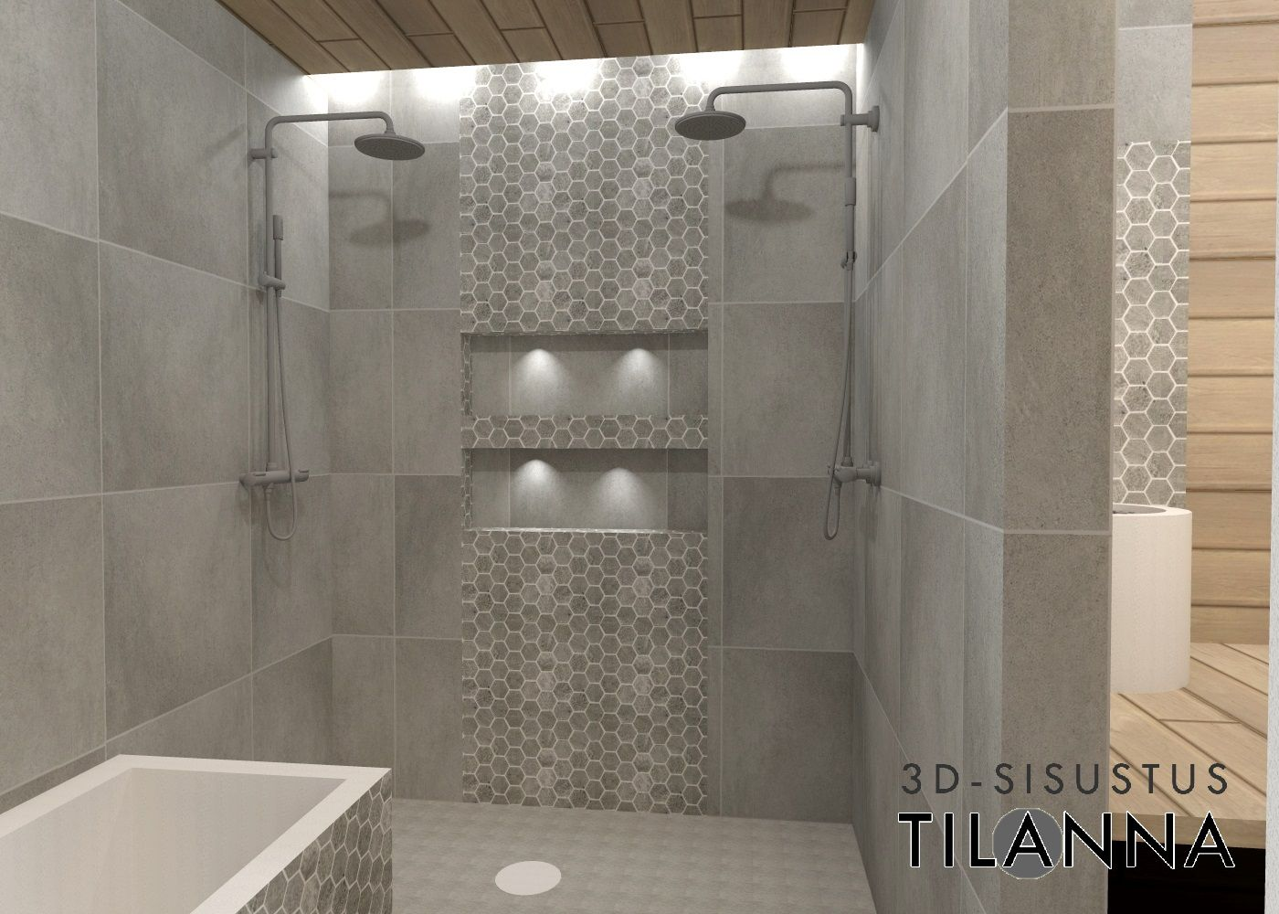 3D - sisustussuunnittelu / moderni pesuhuone, harmaa laatta, kuusikulmainen tehostelaatta,  saunassa saarnipaneeli, grey, modern bathroom, shower room, sauna / 3D-sisutus Tilanna, sisustussuunnittelija Jyväskylä
