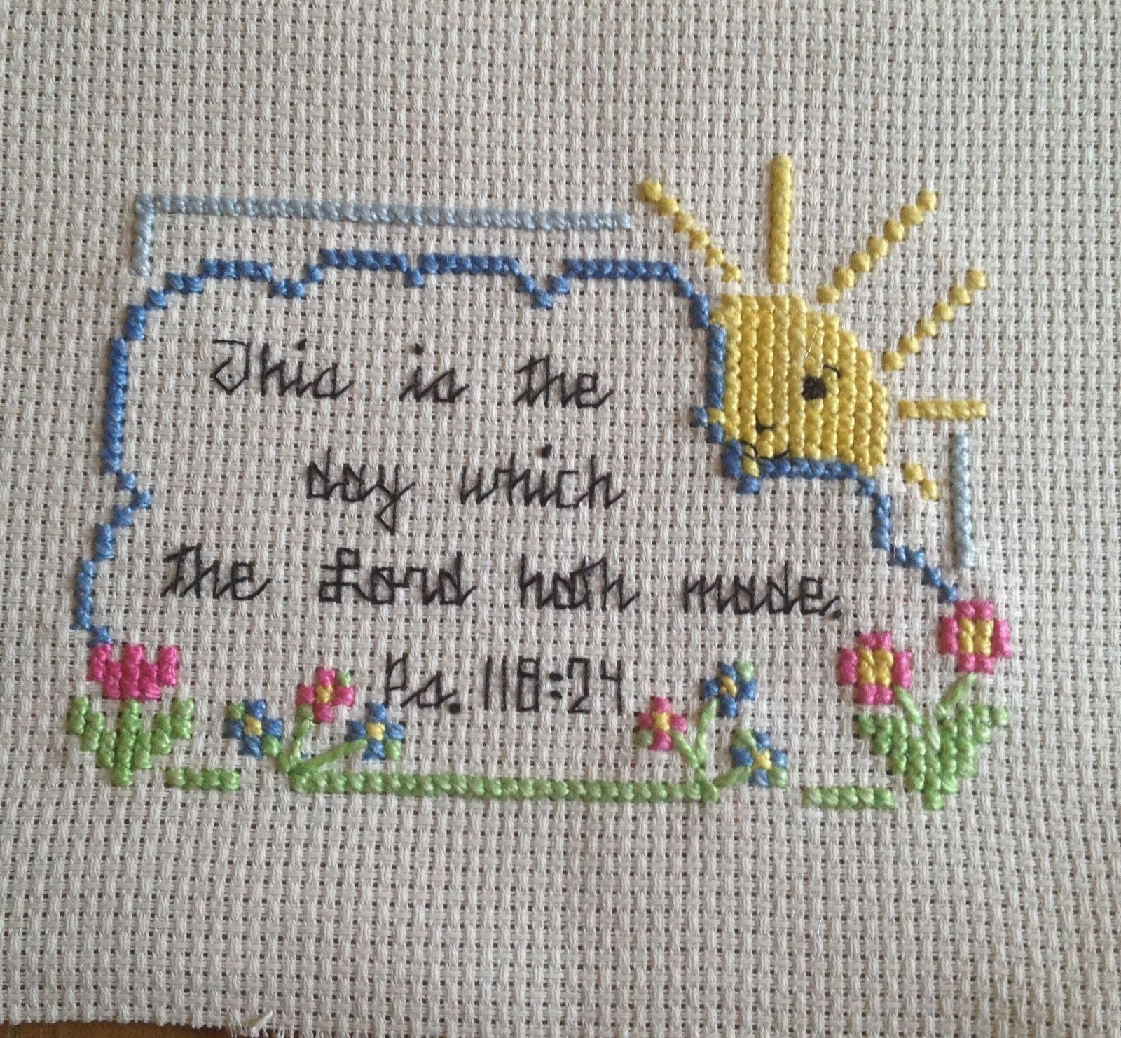Completed finished cross stitch christian bible verse this