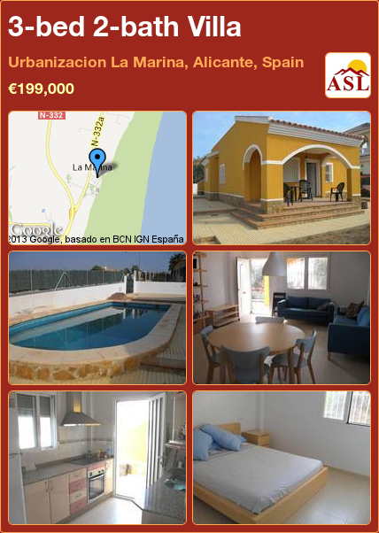 3-bed 2-bath Villa in Urbanizacion La Marina, Alicante, Spain ►€199,000 #PropertyForSaleInSpain