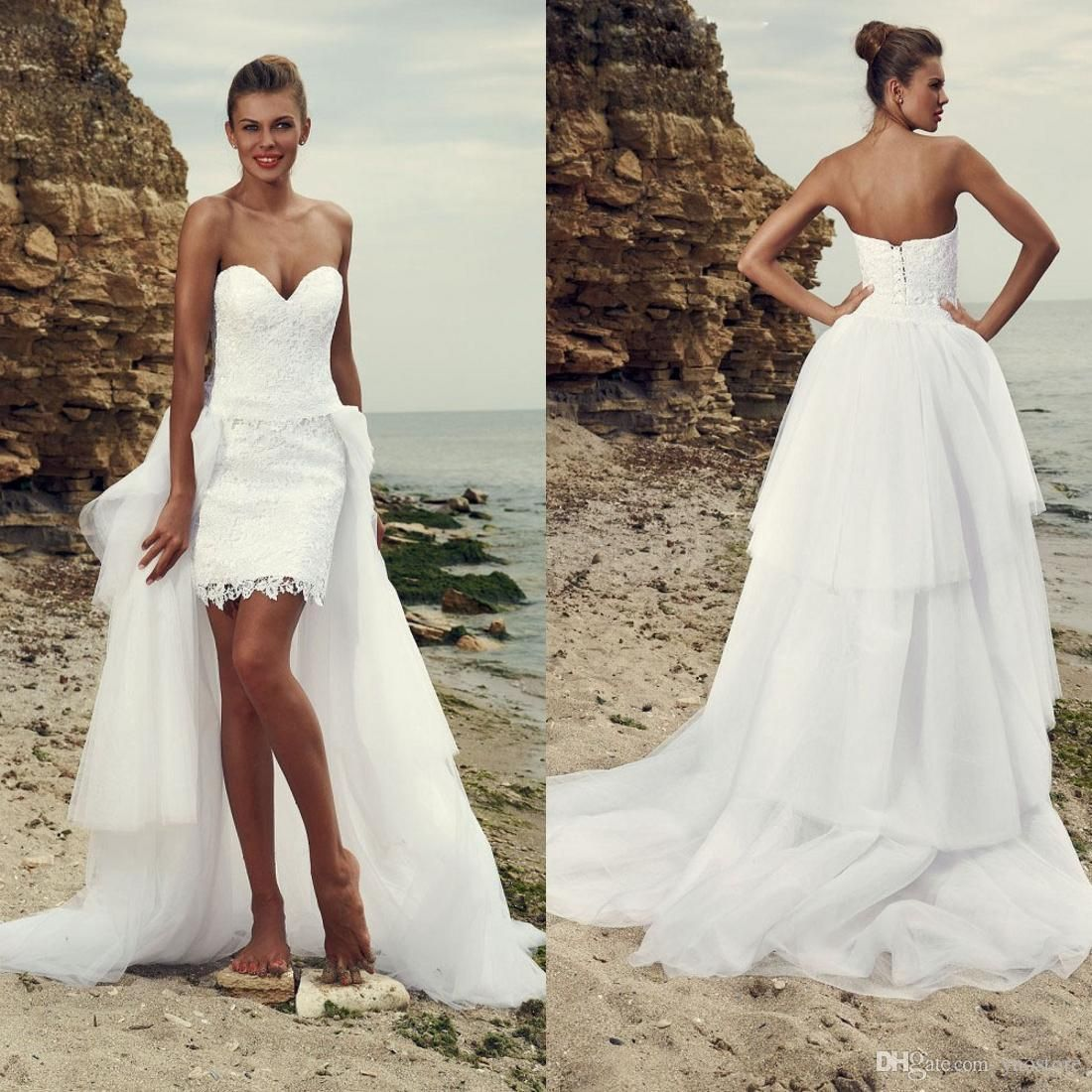 Overskirts Beach Wedding Dresses Cheap  Short High Low Bridal