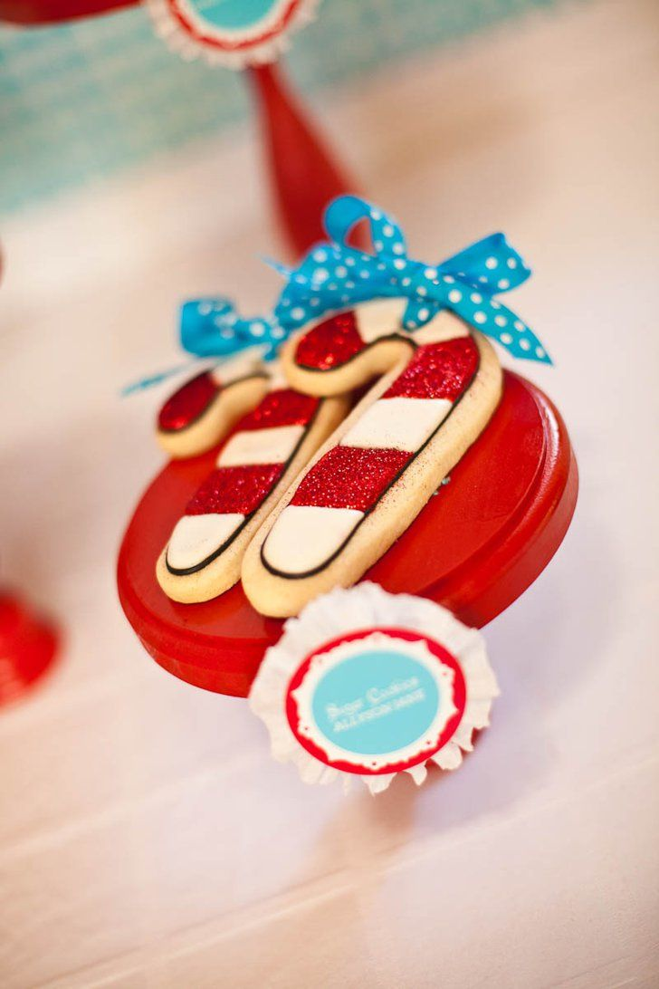 Pin for Later: A North Pole-Inspired Cookie-Making Party Candy Canes Allyson Jane cookies.
