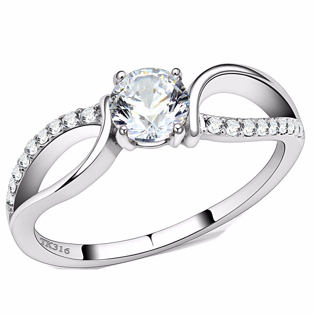 Stainless Steel Prong-Set Round Solitaire Engagement Ring with Clear CZ