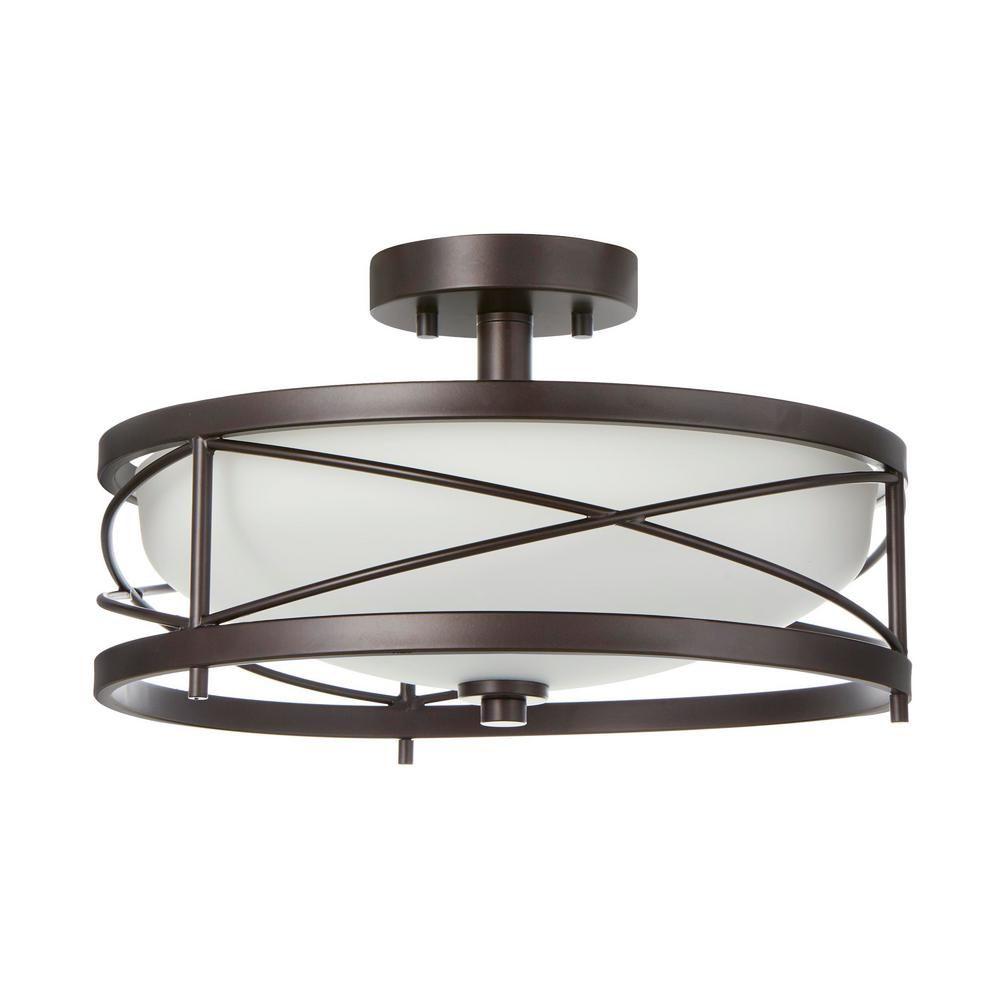 Home Decorators Collection 2 Light Oil Rubbed Bronze Semi Flushmount In 2021 Bronze Ceiling Lights Bronze Kitchen Lighting Kitchen Lighting Fixtures Ceiling