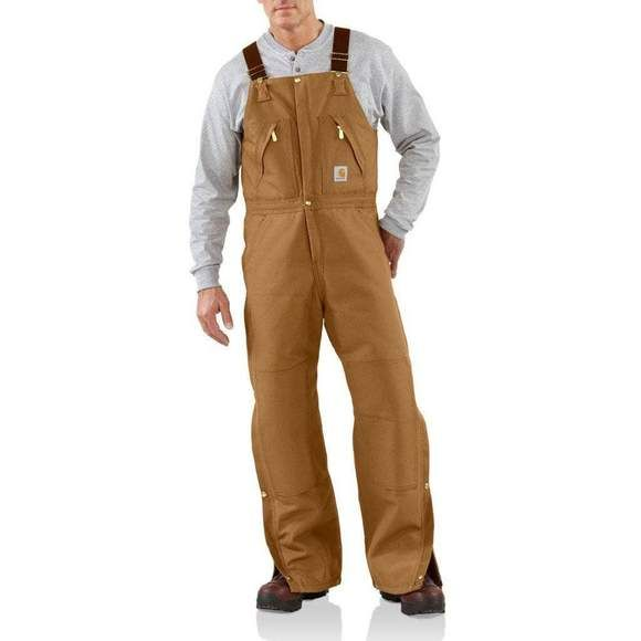 carhartt duck zip to waist insulated bib overall quilt on insulated overalls for men id=15441